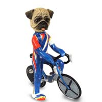 Pug Brown Bicycle Doogie Collectable Figurine