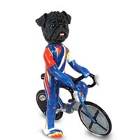 Pug Black Bicycle Doogie Collectable Figurine