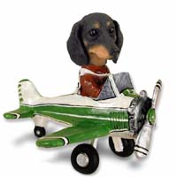 Dachshund Black Airplane Doogie Collectable Figurine