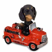 Dachshund Black Fire Engine Doogie Collectable Figurine