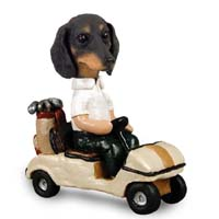 Dachshund Black Golf Cart Doogie Collectable Figurine