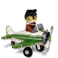 Sheltie Tricolor Airplane Doogie Collectable Figurine
