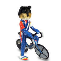 Sheltie Tricolor Bicycle Doogie Collectable Figurine