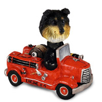 Sheltie Tricolor Fire Engine Doogie Collectable Figurine