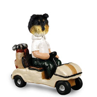 Sheltie Tricolor Golf Cart Doogie Collectable Figurine