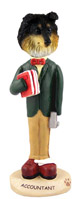 Sheltie Tricolor Accountant Doogie Collectable Figurine