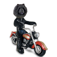 Chow Black Motorcycle Doogie Collectable Figurine