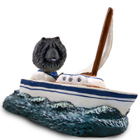 Chow Black Sailboat Doogie Collectable Figurine