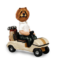 Chow Red Golf Cart Doogie Collectable Figurine