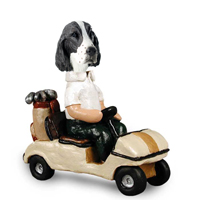 Springer Spaniel Liver Golf Cart Doogie Collectable Figurine