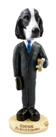 Springer Spaniel Black & White  Businessman Doogie Collectable Figurine