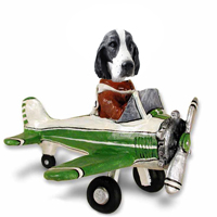 Springer Spaniel Black & White  Airplane Doogie Collectable Figurine