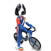 Springer Spaniel Black & White  Bicycle Doogie Collectable Figurine