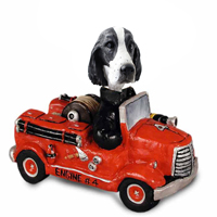 Springer Spaniel Black & White  Fire Engine Doogie Collectable Figurine