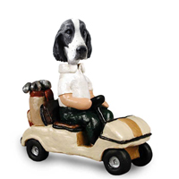 Springer Spaniel Black & White  Golf Cart Doogie Collectable Figurine