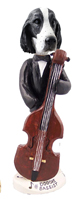Springer Spaniel Black & White  Bassist Doogie Collectable Figurine
