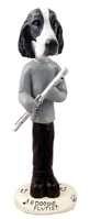 Springer Spaniel Black & White  Flutist Doogie Collectable Figurine