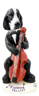 Springer Spaniel Black & White  Cellist Doogie Collectable Figurine