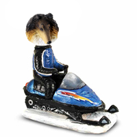 Collie Tricolor Snowmobile Doogie Collectable Figurine