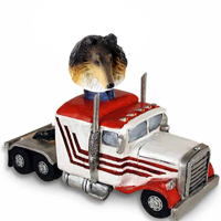 Collie Tricolor Truck Tractor Doogie Collectable Figurine