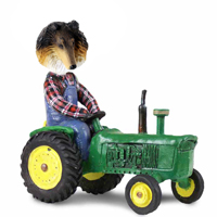 Collie Tricolor Tractor Doogie Collectable Figurine