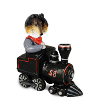 Collie Tricolor Train Doogie Collectable Figurine