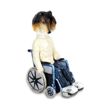 Collie Tricolor Wheelchair Doogie Collectable Figurine