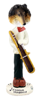 Collie Tricolor Trombonist Doogie Collectable Figurine