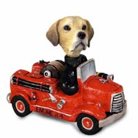 Labrador Retriever Yellow Fire Engine Doogie Collectable Figurine