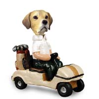 Labrador Retriever Yellow Golf Cart Doogie Collectable Figurine