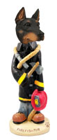 Doberman Pinscher Black w/Cropped Ears Fireman Doogie Collectable Figurine