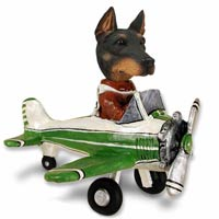 Doberman Pinscher Black w/Cropped Ears Airplane Doogie Collectable Figurine