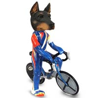 Doberman Pinscher Black w/Cropped Ears Bicycle Doogie Collectable Figurine