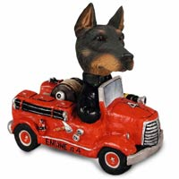 Doberman Pinscher Black w/Cropped Ears Fire Engine Doogie Collectable Figurine