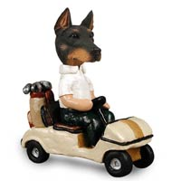 Doberman Pinscher Black w/Cropped Ears Golf Cart Doogie Collectable Figurine