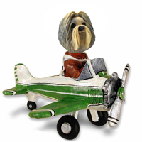 Shih Tzu Mixed Color Airplane Doogie Collectable Figurine