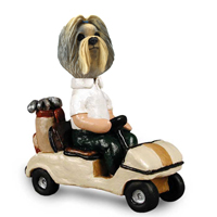 Shih Tzu Mixed Color Golf Cart Doogie Collectable Figurine