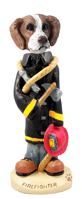 Brittany Brown & White Fireman Doogie Collectable Figurine