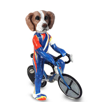 Brittany Brown & White Bicycle Doogie Collectable Figurine