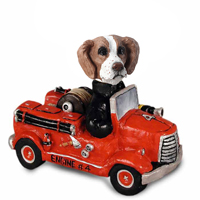 Brittany Brown & White Fire Engine Doogie Collectable Figurine