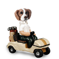 Brittany Brown & White Golf Cart Doogie Collectable Figurine