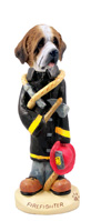 Saint Bernard w/Rough Coat Fireman Doogie Collectable Figurine