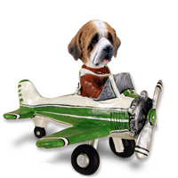 Saint Bernard w/Rough Coat Airplane Doogie Collectable Figurine