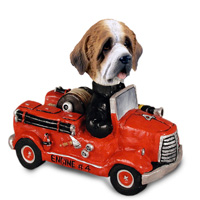 Saint Bernard w/Rough Coat Fire Engine Doogie Collectable Figurine