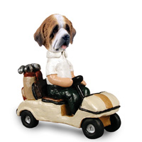 Saint Bernard w/Rough Coat Golf Cart Doogie Collectable Figurine