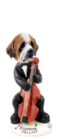 Saint Bernard w/Rough Coat Cellist Doogie Collectable Figurine