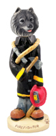 Keeshond Fireman Doogie Collectable Figurine