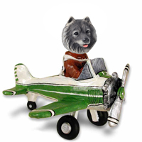 Keeshond Airplane Doogie Collectable Figurine