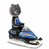 Keeshond Snowmobile Doogie Collectable Figurine