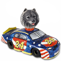Keeshond Race Car Doogie Collectable Figurine